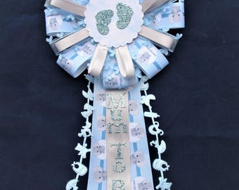 Mum to be Baby Rosette, Mum to Be Baby Corsage, Baby Shower, Mum to Be, Pin Back, Blue Grey and White, Its a Boy, Baby Keepsake
