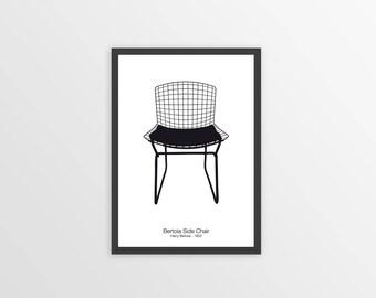 BERTOIA CHAIR PRINT - Chair Print - Chair Art - Bertoia Chair Poster - Minimalist Wall Art - Black and White - Design Icon - Retro Print
