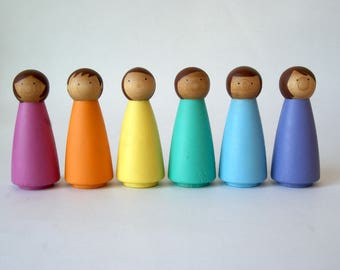 Rainbow Peg Dolls - SET 6 LARGE, Peg Doll, Peg dolls, Peg People, Wooden Peg Dolls, Montessori Toys, Wooden Dolls, Montessori, Waldorf Toys