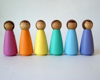 Rainbow Peg Dolls, SET 6 LARGE, Peg Doll, Peg dolls, Peg People, Wooden Peg Dolls, Montessori Toys, Wooden Dolls, Montessori, Waldorf Toys