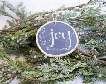"Rustic, hand-lettered Wood Slice Christmas Ornament ""Joy"""