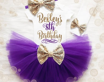 8th Birthday Girl Outfit | Personalized 8th Birthday Girl Shirt | Purple Gold Birthday Outfit | 8th Birthday Tutu Set | Birthday Tutu Set