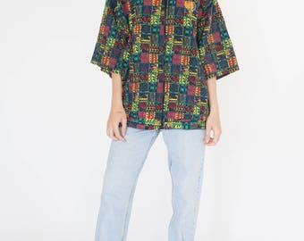 Vintage 90s Color Print Short Sleeve Bomber