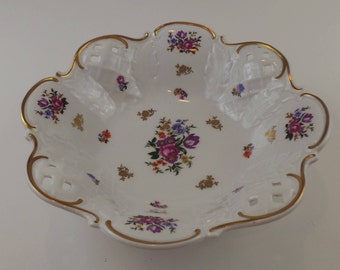 Vintage East German Reichenbach Porcelain Fruit Serving Bowl with Pierced Lattice   GDR Porcelain and Fine China