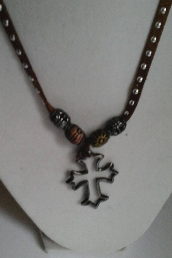 Men's Leather Necklace with Black Wire Cross Choker, Wire Cross, Punk Cross, Cross Choker for Men, Beaded Leather Choker with Cross