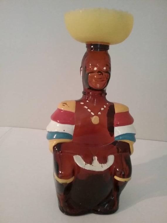 "Vintage 10"" Rum Limbo Drummer Bottle, Trinidad Drummer Rum Bottle, #RetroBarWare, Tiki Collector Bottle, Unique Christmas Gift for him"