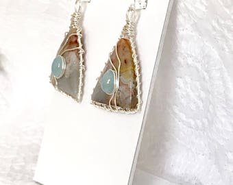Crazy Lace Agate earrings, wire wrapped earrings, freeform agates, with Aquamarine cabochon accents