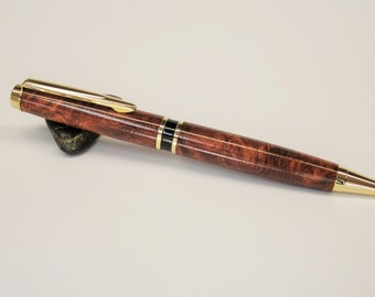 Executive Ballpoint Pen in Amboyna Burl with Gold Trim