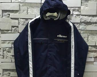 Rare Vintage 90s Ellesee Hooded Ski Jacket size Large L / Ellesse Federation Francaice Ski De Mul Hooded Half Zipper Jacket