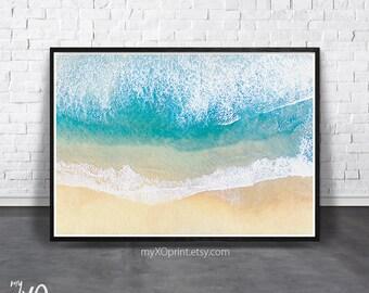 Ocean Print, Beach Wall Art Print, Coastal Print, Printable Art, Ocean Wave Art, Sea Wall Print, Digital Download Poster, Beach Photography
