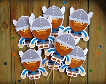 Set of Eight Viking Cupcake Toppers, Viking Cupcake Picks, Birthday Boy, Cupcake Toppers