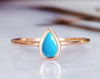 Rose Gold Engagement Ring Turquoise Wedding Ring Solitaire Bridal Stacking Unique Promise Pear Shaped Teardrop Shaped Propose Women
