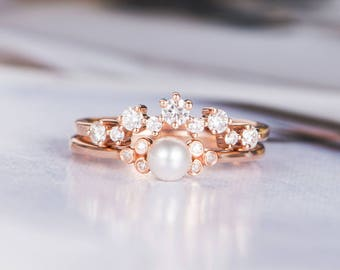 pearl engagement ring rose gold bridal sets wedding ring diamond minimalist three stone cluster ring promise - Pearl Wedding Ring