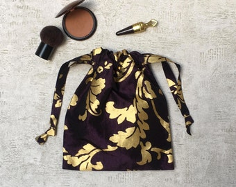 dark purple single smallbag gold designs - reusable bag - zero waste