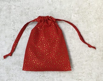 printed red smallbags gold stars - 2 sizes - reusable bags - zero waste