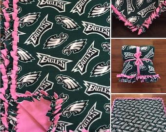 X-LARGE Philadelphia EAGLES Handmade NFL Fleece Tie Blanket |55x75| Philly Football Fan | Eagles Blanket | Eagles Bedding | Eagles Home Deco