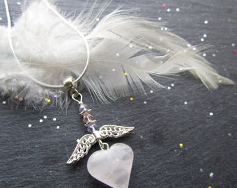 Rose Quartz Angel Necklace, Rose Quartz Heart Necklace, Valentine Gift, Rose Quartz Pendant, Heart Necklace, Heart Pendant, Godmother gift