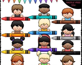 Crayon Kid Toppers Clip Art and B&W Set