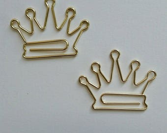 2 x Crown shaped paper clips. Page markers. Gold plated. Journal Diary Midori Hobonichi Travellers Notebook complement