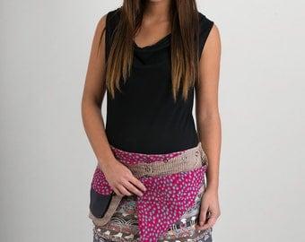 Reversible Cotton Skirt Grey Patch Pink Purple Print Detachable Pocket Mini Length