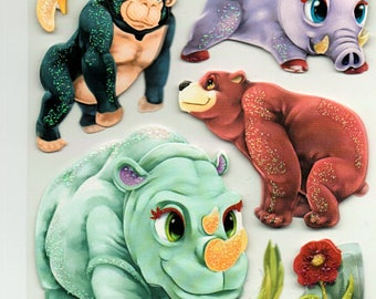Zoo Animals 3d Stickers Scrapbook Embellishments Cardmaking Crafts Forever In Time