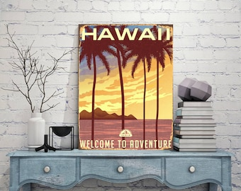 Hawaii, Welcome to adventure, Hawaii Metal sign, Metal print art, Hawaii sign, Print on metal, Hawaii wall art, Metal wall art, Sign print
