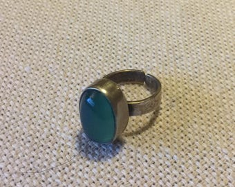 Magical Green and Silver Ring Handmade in Egypt. BohoCairo
