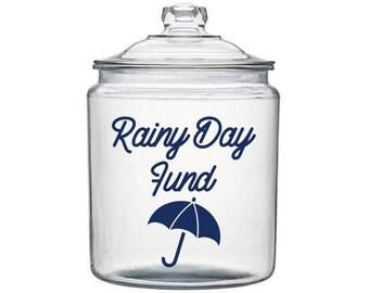Rainy Day Fund Decal, Money Jar Decal, Savings Jar Decal, Coin Jar Decal, Gift for Family, Rainy Day Savings, Piggy Bank Decal, Jar Decals