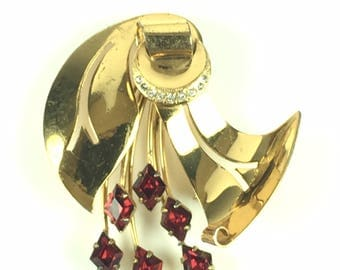 Vintage brooch-Art deco-sterling silver-rhinestones-gilded-red-elegant-modernist-retro-1940s-mid century-gift