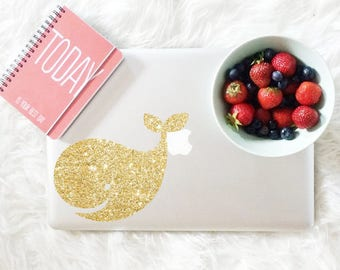 Whale decal, glitter decal for laptop, car, macbook, wall 156