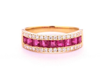 Alternative Ruby Wedding band women Solid 14K Gold Half eternity band Princess cut Ruby Wedding ring Bridal Delicate Promise Gift for her