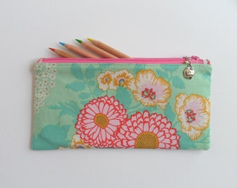 Gift for teacher, No. 1 Teacher charm, floral fabric, pencil case, small zipper purse, sunglasses case, handbag organizer, ready to ship