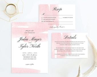 Blush Wedding Invitation Set Blush Invitations Blush Wedding Invitation Watercolor Blush Watercolor Invite Wedding Invitation Set Watercolor