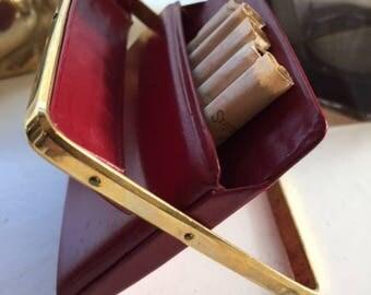Vintage 50s red leather cigarette case vintage