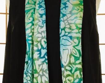 Silk, Scarf, Chiffon, Rayon, Turquoise, Blue, Green, Mermaid, Sheer, Hand Dyed, READY To Ship, High Fashion, Rectangle, OOAK, Travel, 703