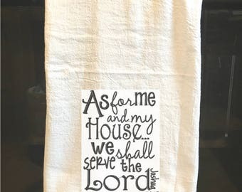 Christian Themed Embroidered Towel - As for me and my house we shall serve the Lord - gifts for home, hostess, wedding -Mission Trip support