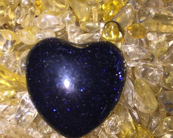 "Blue goldstone puffy heart 1 1/2"" x 1 1/2"""