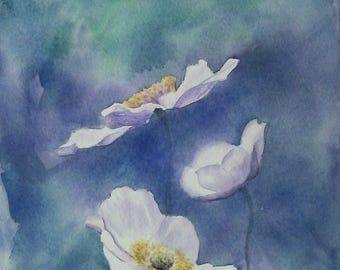 Peinture originale de fleurs aquarelle de fleurs paysage de fleurs art floral anémones blanc et bleu