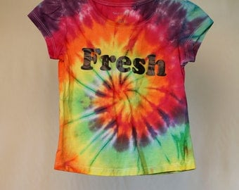 Size 6  - Fresh - Ready To Ship - Girls - Children - Kids - Iced Tie Dyed T-shirt - 100% Cotton - FREE SHIPPING within Aus