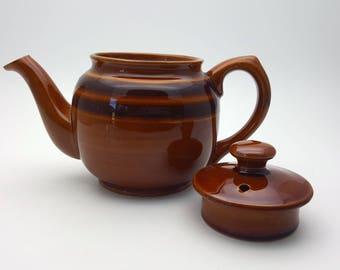 Vintage Sadler Brown Stoneware English Teapot 70s Retro Hippie Decor Crackle Finish