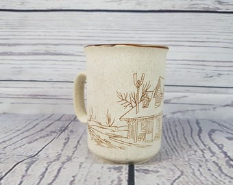 Vintage Cottage Country Farmhouse Stoneware Ceramic Mug Coffee Cup Novelty Retro Decor Break Time Tea Hot Beverages Collection Manoir Korea