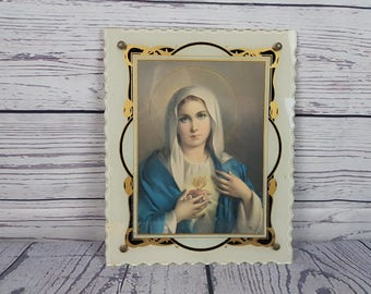 Vintage Virgin Mary Mother Plaque with Glass Wall Art Hanging Religious Gift Catholic Christian Baptism Confirmation Madonna Ornament