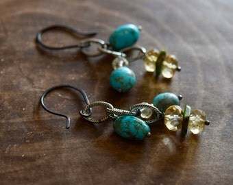 Turquoise and Citrine Earrings~ Boho Chic Jewelry ~ Kingman Turquoise