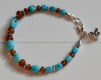 Sunstone and Kingman Turquoise Bracelet~ Tuquoise Sterling Silver Jewelry~ Mother's Day Gift Idea~