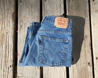 """Levi's 569 28"""" Medium Wash High Waist Boyfriend Red Tab Vintage Jeans"""