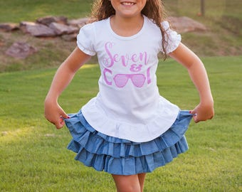 7th birthday outfit for girls, seventh birthday tee, cool birthday shirt with denim tutu for girls, seven year old birthday outfit