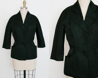 Vintage 1940's Blazer Jacket - 3/4 Sleeve Blouse - Formal - Black - Pleated Art Deco Pockets - Nipped Waist Coat - Women's Small / Medium