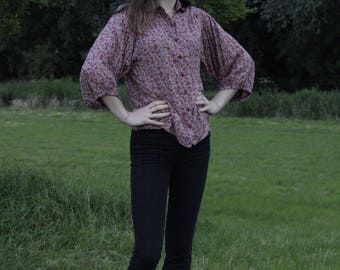 Ditsy Floral Print Shirt /70's Puff Sleeve blouse /UK Size 12/ US 8/ EUR 38