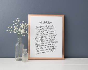 "Lord's Prayer Calligraphy Print / Our Father Who Art in Heaven / Give us this day our daily bread / 9x12"" Print"
