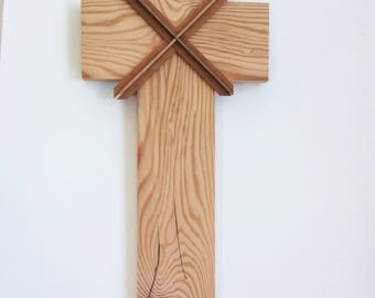 Wooden Cross Created from a Very Old Floor Joist from New Orleans, La.